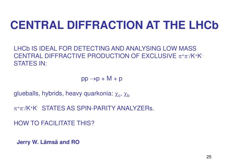 CENTRAL DIFFRACTION AT THE LHCb