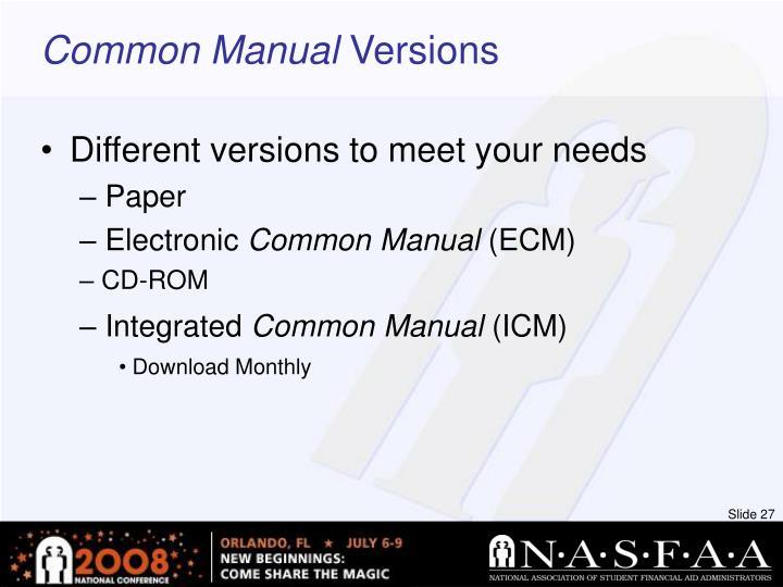 Common Manual