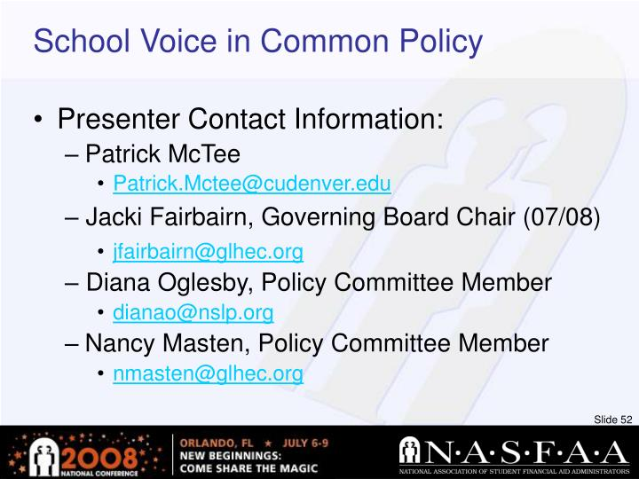 School Voice in Common Policy