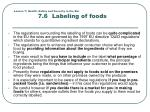 lesson 7 health safety and security in the bar 7 6 labeling of foods