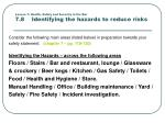 lesson 7 health safety and security in the bar 7 8 identifying the hazards to reduce risks
