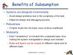 benefits of subsumption