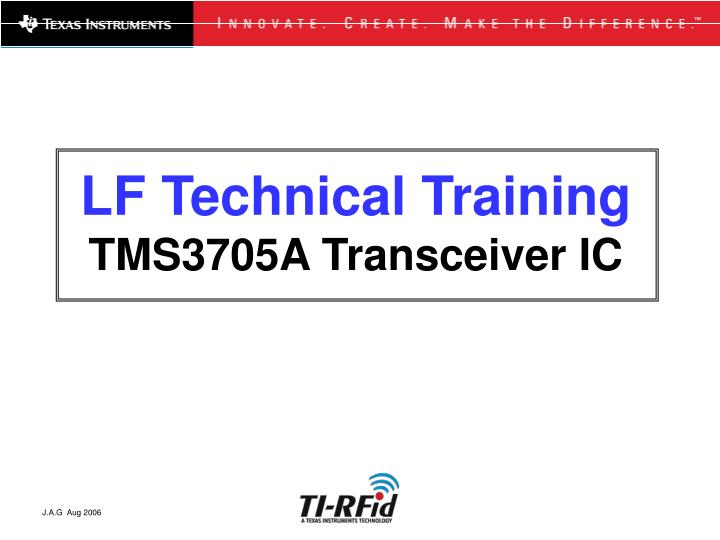 lf technical training tms3705a transceiver ic n.