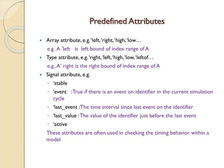 Predefined Attributes