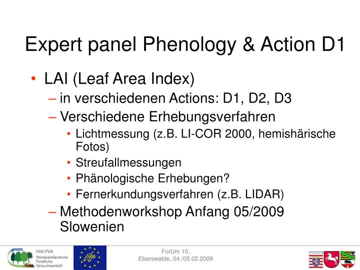 Expert panel Phenology & Action D1