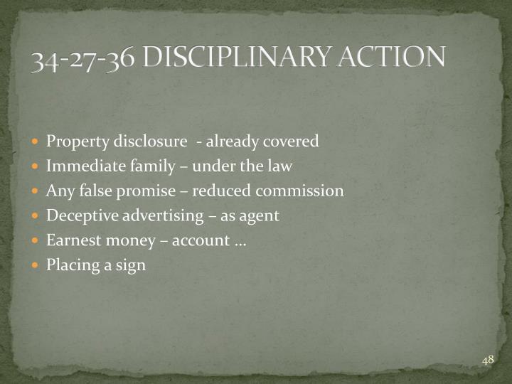 34-27-36 DISCIPLINARY ACTION