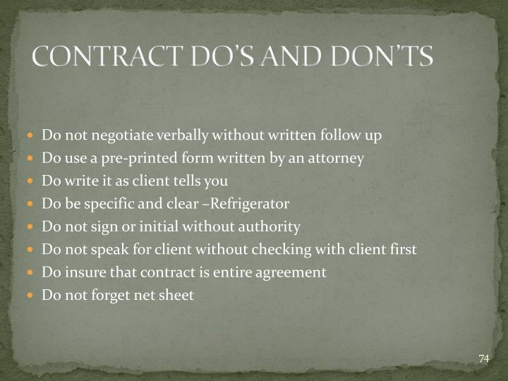 CONTRACT DO'S AND DON'TS