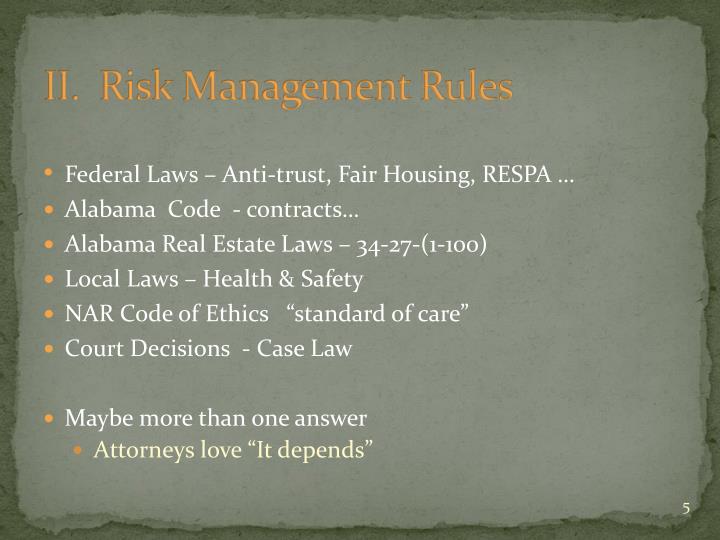 II.  Risk Management Rules