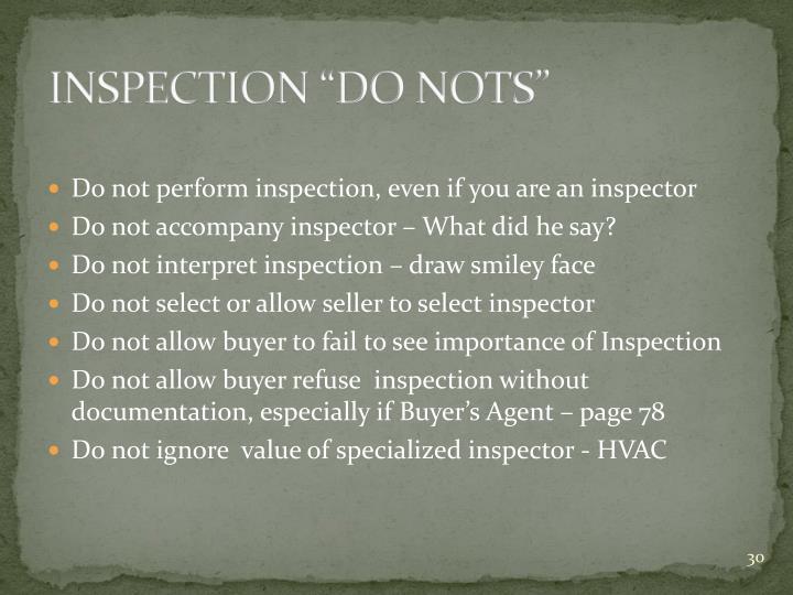 "INSPECTION ""DO NOTS"""