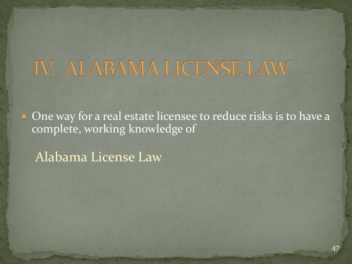 IV.  ALABAMA LICENSE LAW