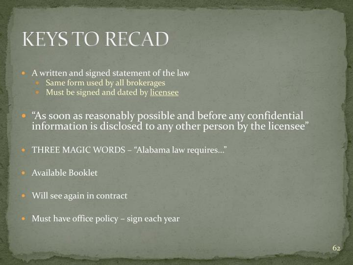 KEYS TO RECAD