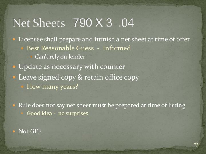 Net Sheets