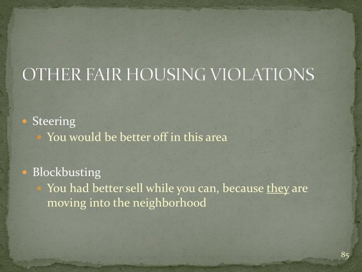 OTHER FAIR HOUSING VIOLATIONS