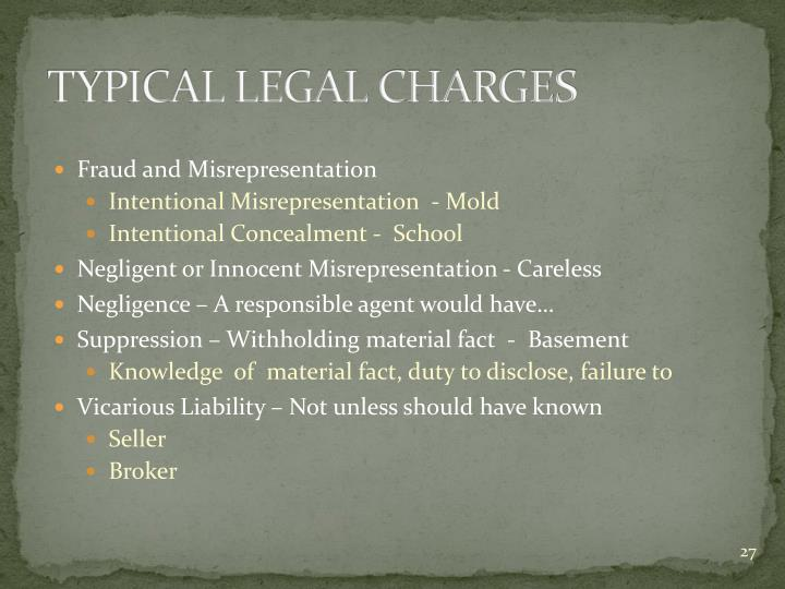 TYPICAL LEGAL CHARGES