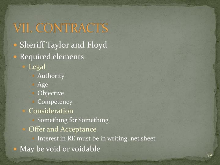 VII. CONTRACTS