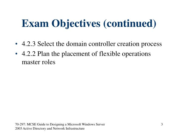 Exam objectives continued