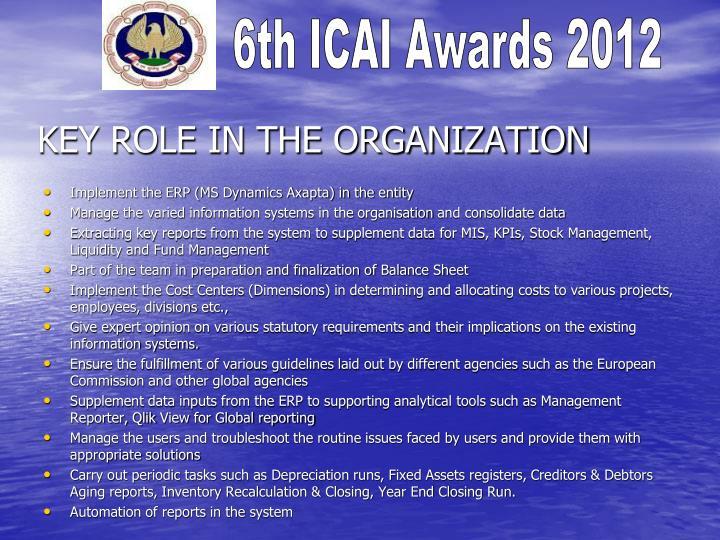 Key role in the organization