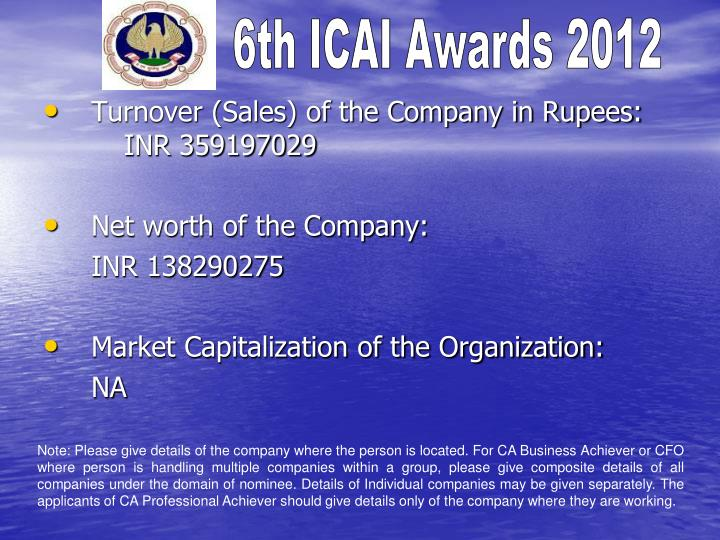 Turnover (Sales) of the Company in Rupees: INR 359197029