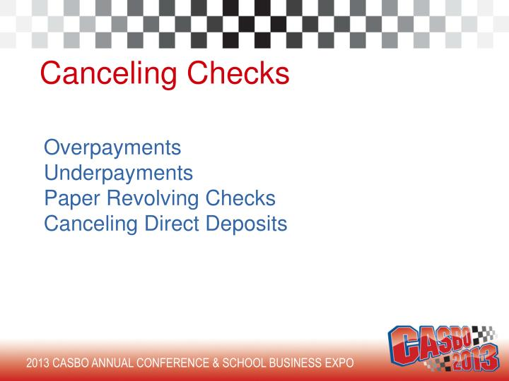 Canceling Checks