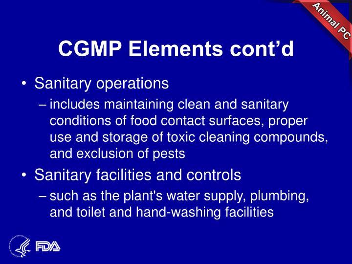 CGMP Elements cont'd