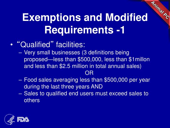 Exemptions and Modified Requirements -1
