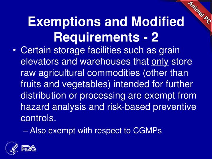 Exemptions and Modified Requirements - 2