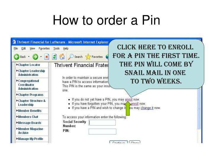 How to order a Pin