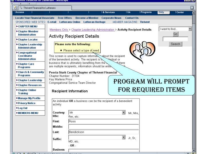 Program will Prompt