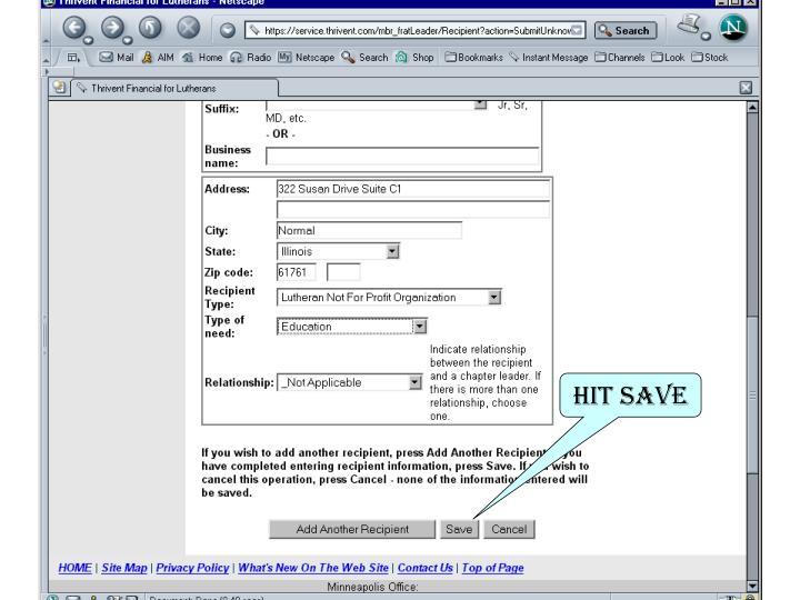 Hit Save