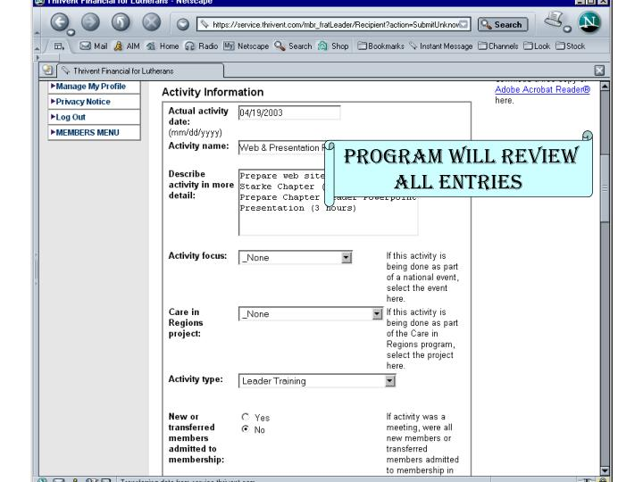 Program will review