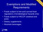 exemptions and modified requirements1