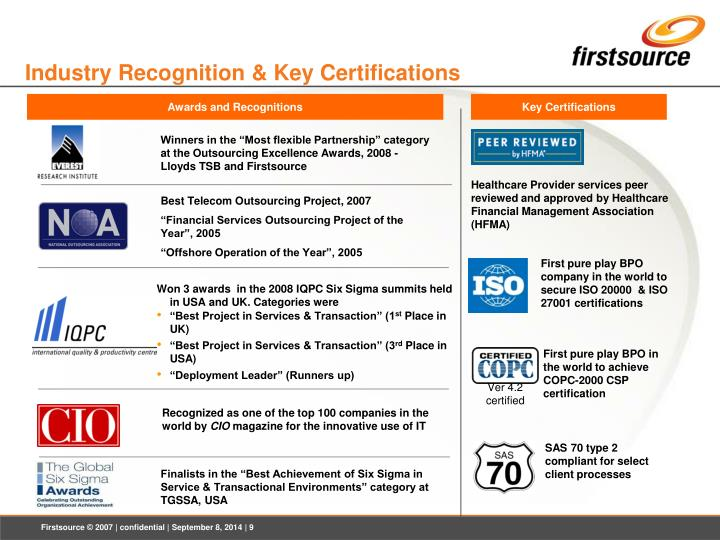 Industry Recognition & Key Certifications