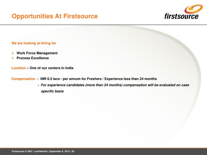 Opportunities At Firstsource