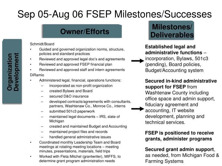 Sep 05-Aug 06 FSEP Milestones/Successes