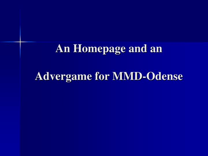 an homepage and an advergame for mmd odense n.