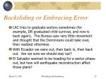 backsliding or embracing error