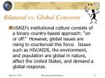 bilateral vs global concerns