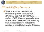 oe and staffing pressures