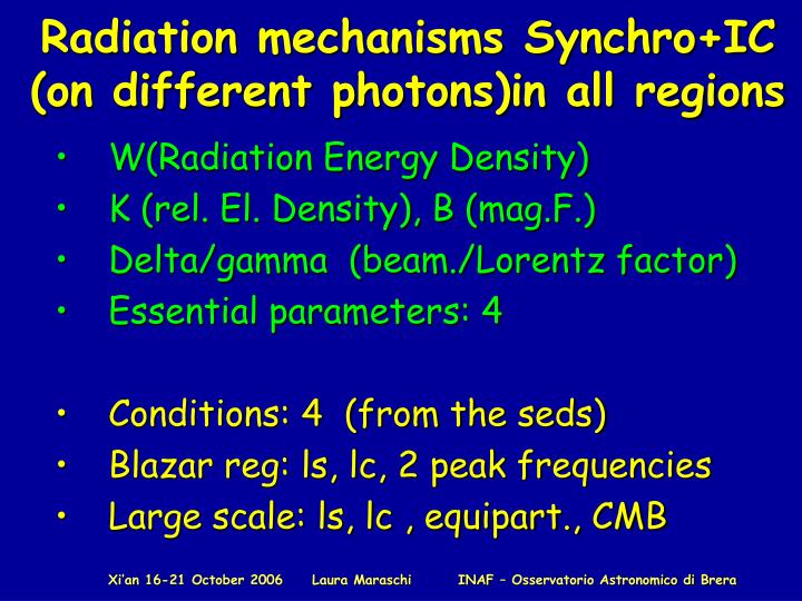 Radiation mechanisms Synchro+IC (on different photons)in all regions