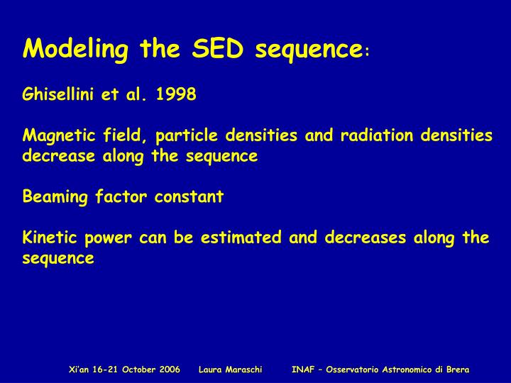 Modeling the SED sequence