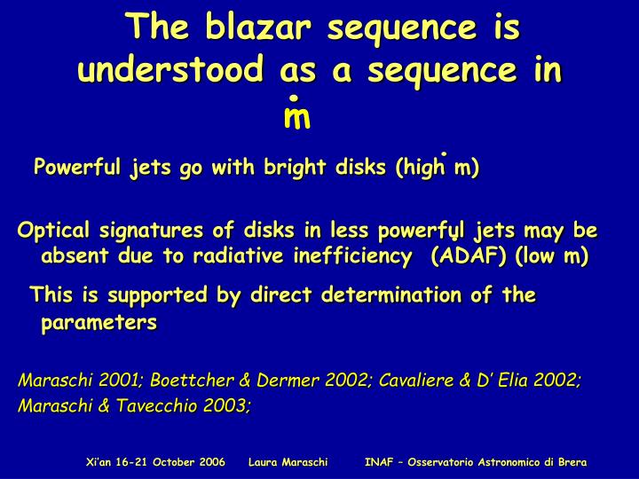 The blazar sequence is understood as a sequence in