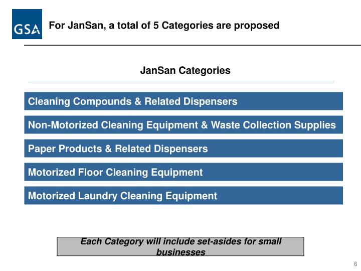 For JanSan, a total of 5 Categories are proposed