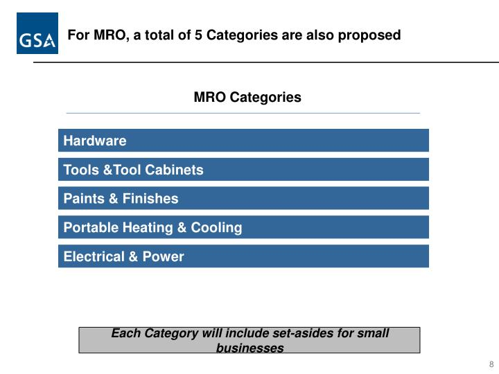 For MRO, a total of 5 Categories are also proposed