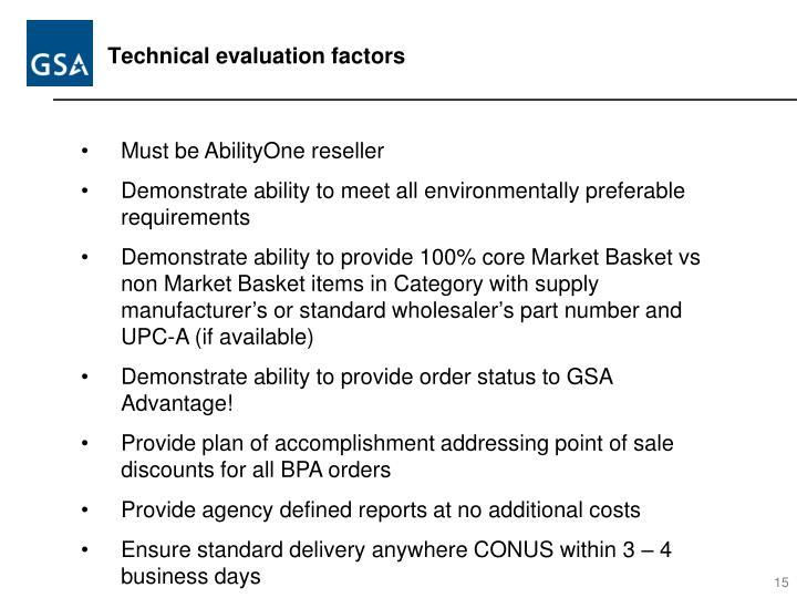 Technical evaluation factors