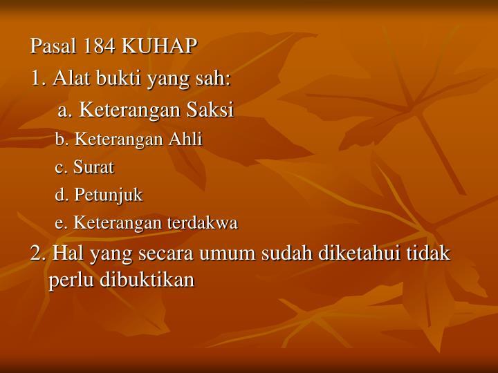 Pasal 184 KUHAP