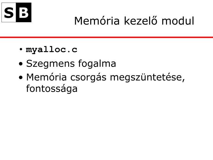Memória kezelő modul