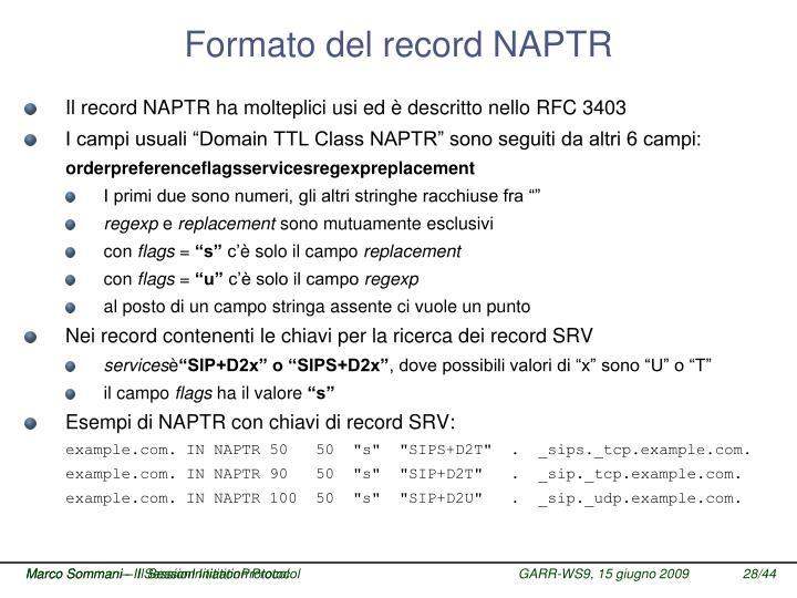 Formato del record NAPTR
