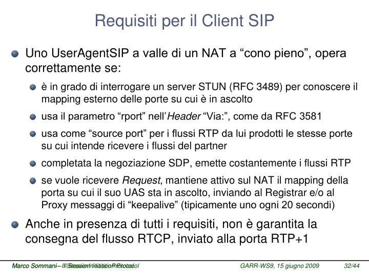 Requisiti per il Client SIP