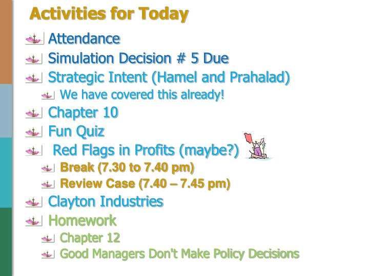 activities for today n.