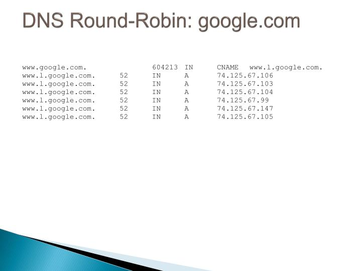 DNS Round-Robin: google.com